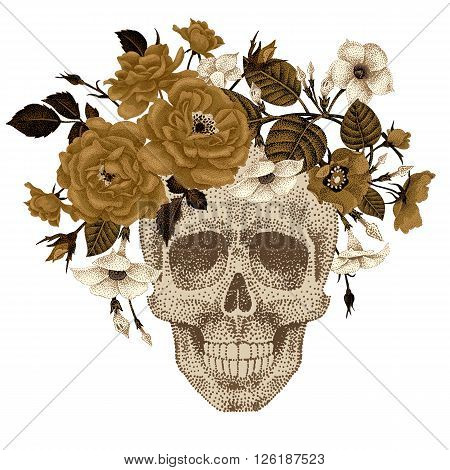 Dead head with a wreath of ivy flowers roses isolated on white background. Vector illustration of human skull and plants devil guts peony briar . Modern trend print with gold foil.