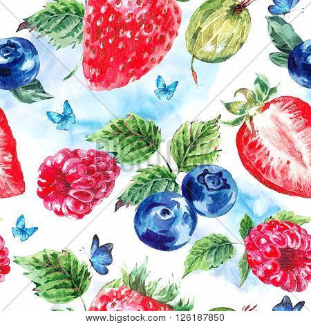 Natural summer watercolor eco food seamless background, fruits and berries on a white background, strawberries, gooseberries, blueberries, raspberries