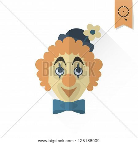 Happy Birthday Icon. Clown Face. Simple, Minimalistic and Flat Style. Retro Color. Long Shadow. Vector