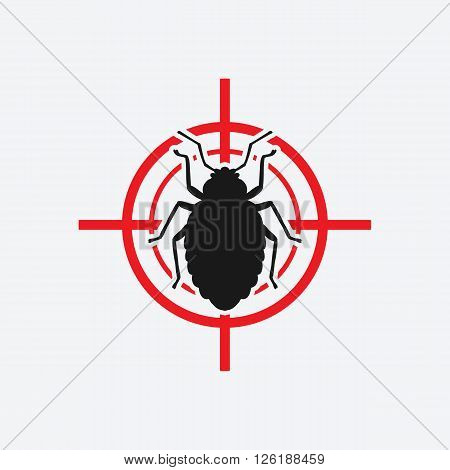 bug icon red target - vector illustration. eps 8