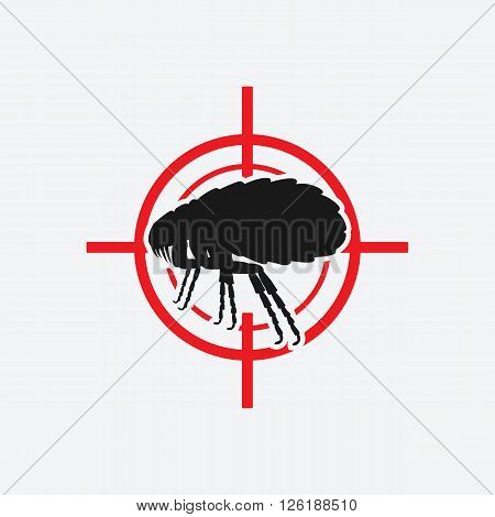 flea icon red target - vector illustration. eps 8