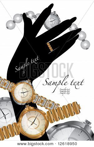 wrist gold watch with diamonds