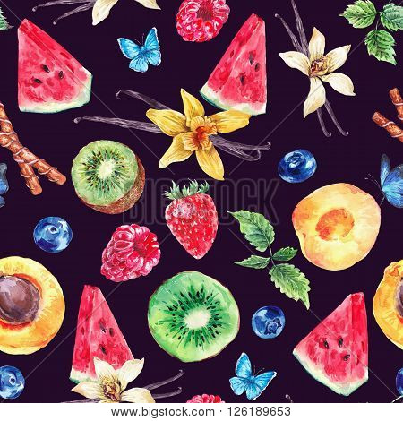 Tropical  Seamless Watercolor Pattern Natural Healthy Food Eco Pattern with Watermelon, Apricot, Kiwi, Vanilla and Berries, Exotic Menu Fruit Card on black background