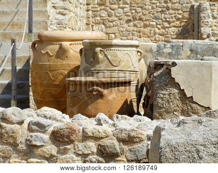 Ancient Storage Jars or Pithoi At The Knossos Palace, Crete, Greece