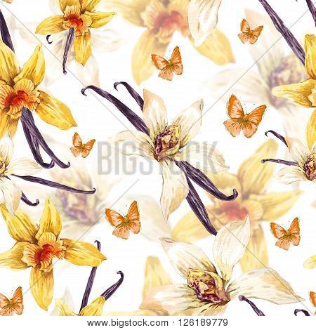 Tropical  seamless watercolor floral pattern, flowers white and yellow orchid, orchid vanilla, butterfly, botanical flower illustration on white