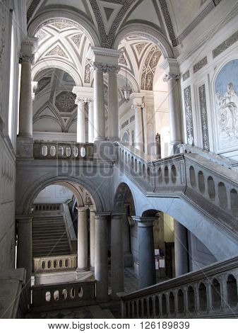 CATANIA, SICILY/ITALY - SEPTEMBER 11: Decorative Interior of Historical Building on September 11, 2009 in Catania, Sicily, Italy