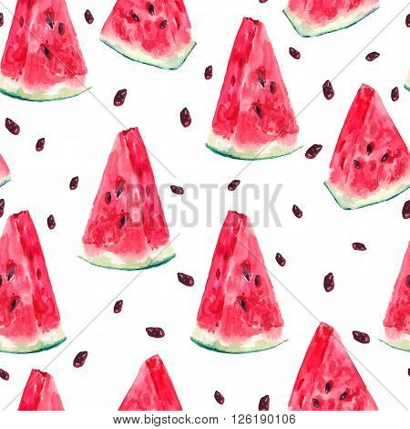 Exotic summer watercolor seamless pattern with slices of watermelon, natural illustration on white background