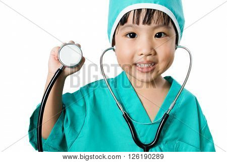 Asian Little Chinese Girl Playing A Doctor With Stethoscope