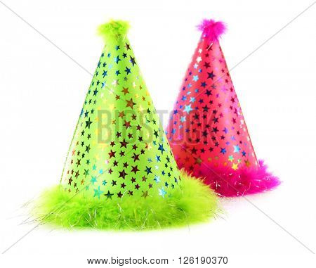 Two party hats on white background