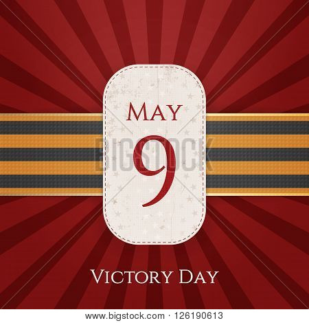 May 9 Victory Day white paper Label with st. George Ribbon on red striped Background. Vector Illustration