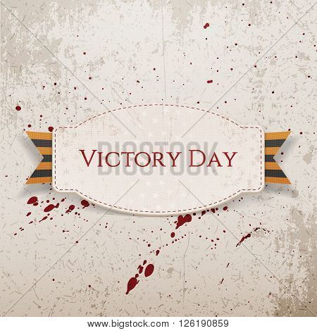 Victory Day. Paper white Label with striped st. George Ribbon on concrete Background with Blood Drops. Vector Illustration