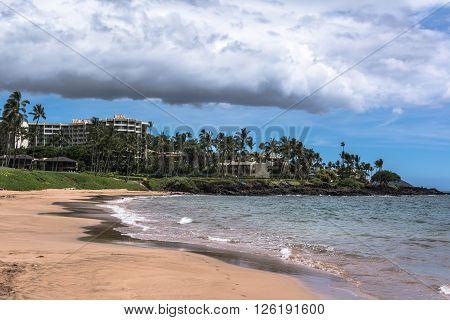 Sand beach along the Wailea coast in Maui, Hawaii