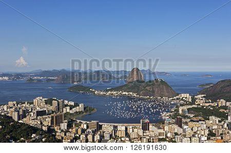 Day view of Sugar Loaf Mountain and Guanabara Bay in Rio de Janeiro, Brazil.
