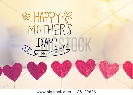 Happy Mothers Day Message With Small Red Hearts