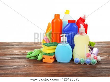 Cleaning supplies on the floor