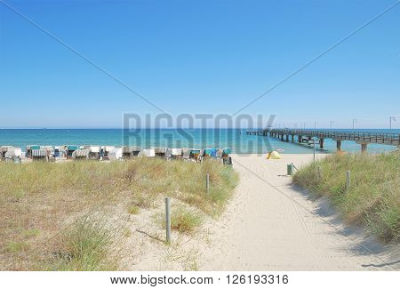 Beach and Pier of Goehren on Ruegen Island at Baltic Sea,Mecklenburg western Pomerania,Germany