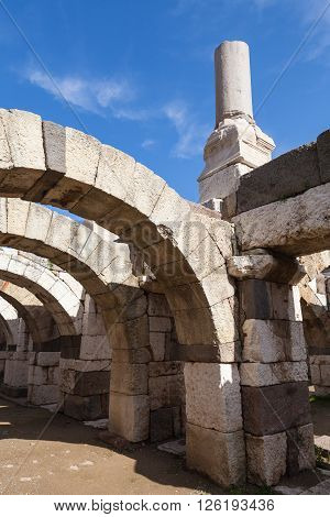 Ancient White Broken Columns And Arches