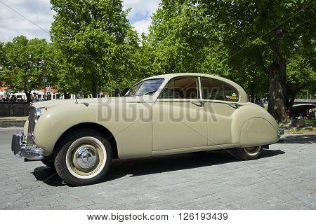 TURKU, FINLAND - JUNE 13, 2015: Jaguar Mark IX - the parade of retro cars