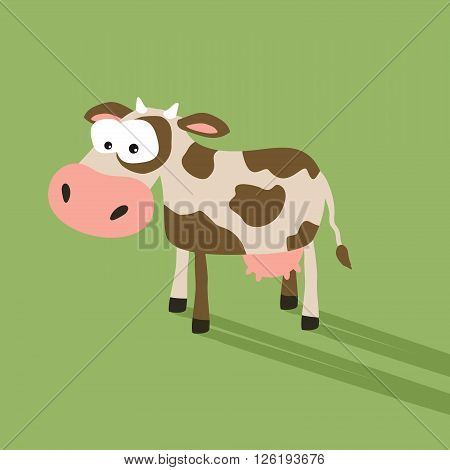 Funny cow cartoon with silly face expression.