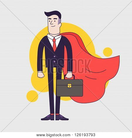 Young serious businessman superhero with leather briefcase and red cloak. Businessman with leadership skills