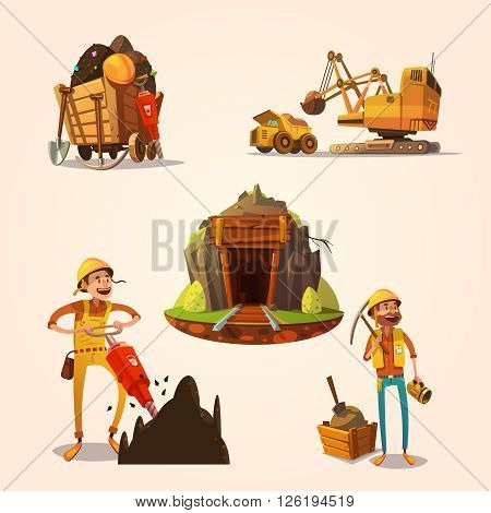 Mining concept set with retro cartoon style labor workers cartoon style isolated vector illustration