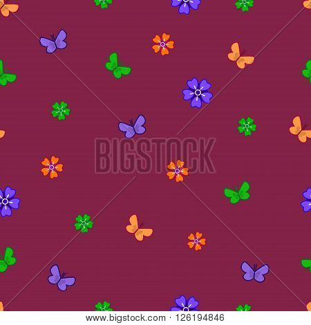 Pattern With Flowers And Butterflies