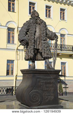 ST. PETERSBURG, RUSSIA - MARCH 11, 2014: The monument to architect Domenico Trezzini. The landmark of St. Petersburg