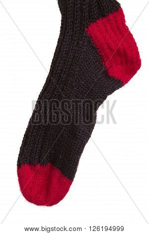 the black sock isolated on white background