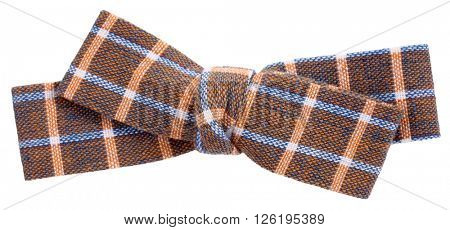 Brown beige sky blue plaid bow tie
