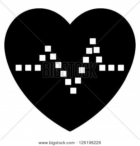 Heart Pulse vector toolbar icon. Style is flat icon symbol, black color, white background, square dots.