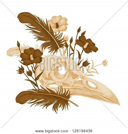 The illustration on the theme of death. Vector image of skull bird flower and bird feathers on a white background. Vintage. Composition in gold color.