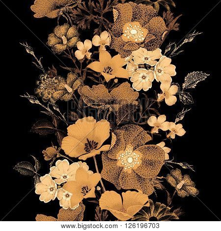Seamless vector pattern of garden flowers in style of Chinese lacquer miniature. Flowers gold color on black background. Vintage. Design of flowers - oriental style. Flowers roses bluebells daisies.