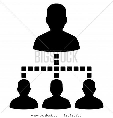 People Hierarchy vector toolbar icon. Style is flat icon symbol, black color, white background, square dots.