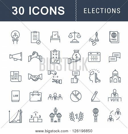 Set vector line icons with open path voting and elections. Collection politics symbol with elements for mobile concepts and web apps. Collection modern infographic logo and pictogram.