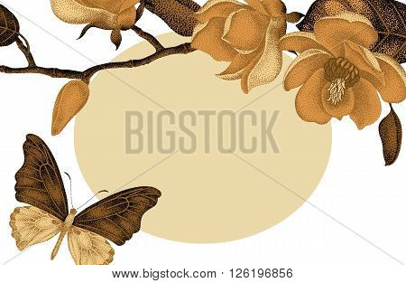 Vector card with gold magnolia flowers and place for text on wedding invitations congratulations. Vintage style. Oriental design. Illustration gold magnolia and black butterflies on white background.