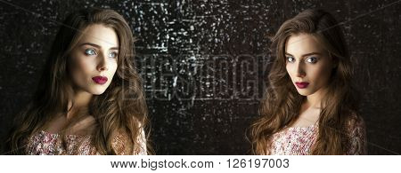 Collage two women. Portrait of Young brunette girls on dark studio wall background