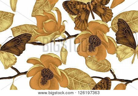 Seamless vector floral background. Illustration of magnolia flowers and butterflies in Victorian style. Luxury vintage design. A series of natural motifs with gold foil. Black white and gold pattern.