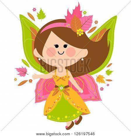 Vector Illustration of a beautiful autumn fairy.