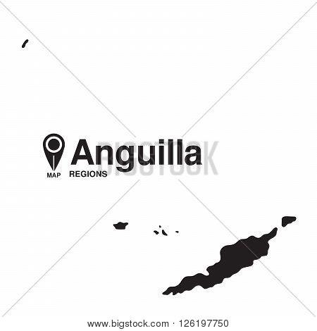 Anguilla map regions. Anguilla vector map silhouette