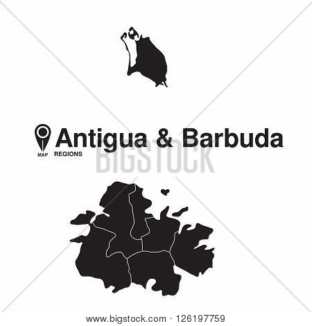 Antigua and Barbuda map regions. vector map silhouette