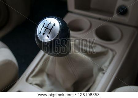 Car interior. manual transmission gear shift. automobile