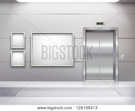 Realistic empty elevator hall interior with close metallic lift doors marble floor fluorescent light in ceiling and grey walls vector illustration