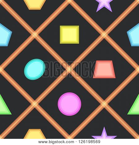 Simple seamless pattern with geometric figures for children room. Vector illustration.
