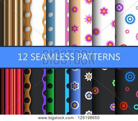 Set of twelve seamless flat backgrounds. Dark and light versions. Vector illustration.