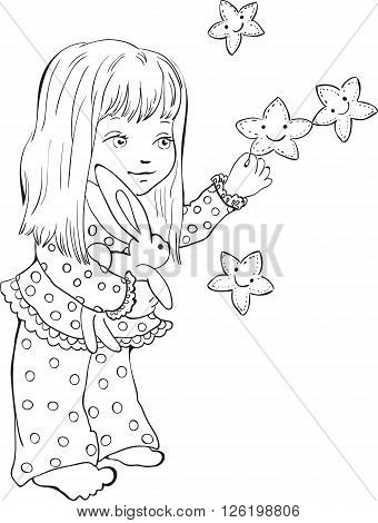 Cute little girl with funny stars. Digital stamp. Vector drawing for coloring book.
