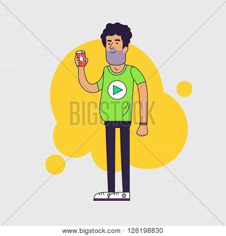 Single shaggy man with beer can. Sad divorced husband. Untidy appearance. Linear flat illustration