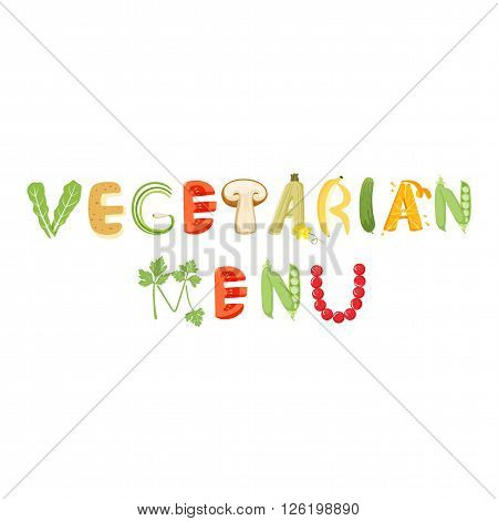 Vegetarian menu vegetables letter. Healthy food vector letter. Vegetarian menu lettering with vegetables isolated on white background. Text vector illustration. Vegetarian menu vegetables font.
