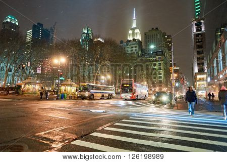 NEW YORK - CIRCA MARCH 2016: New York City at night. The City of New York, often called New York City or simply New York, is the most populous city in the United States