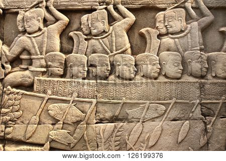 Wall carving of Prasat Bayon Temple, in famous landmark Angkor Wat complex, khmer culture, Siem Reap, Cambodia