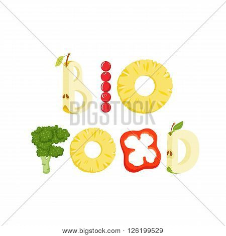 Bio food vegetables letter. Healthy food vector letter. Bio food lettering with vegetables isolated on white background. Text vector illustration. Bio food vegetables font.